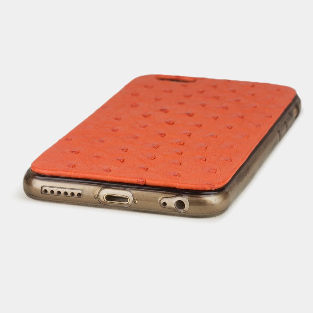 Чехол-накладка для iPhone 6/6S из натуральной кожи страуса, оранжевого цвета