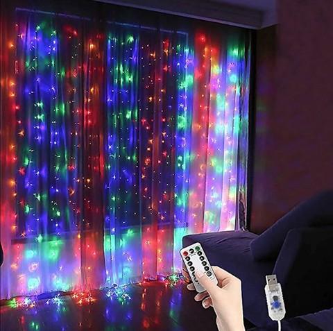 Гирлянда-занавес EPECOLED разноцветная (USB, на пульте, 3х3 метра, 300LED)
