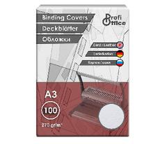 Обложки для переплета картонные ProfiOffice A3 270 г/кв.м белые текстура кожа (100 штук в упаковке)