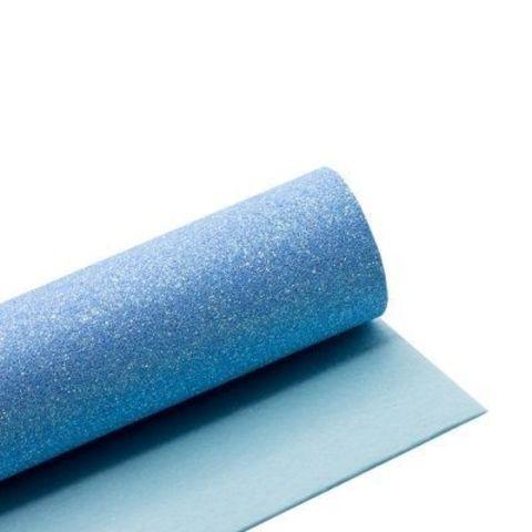 Глиттерный фоамиран. Цвет: голубой