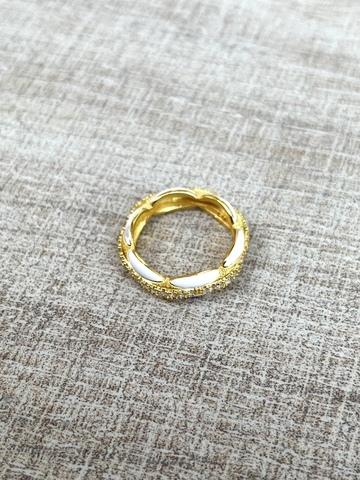 Кольцо Ширитам белое, позолота