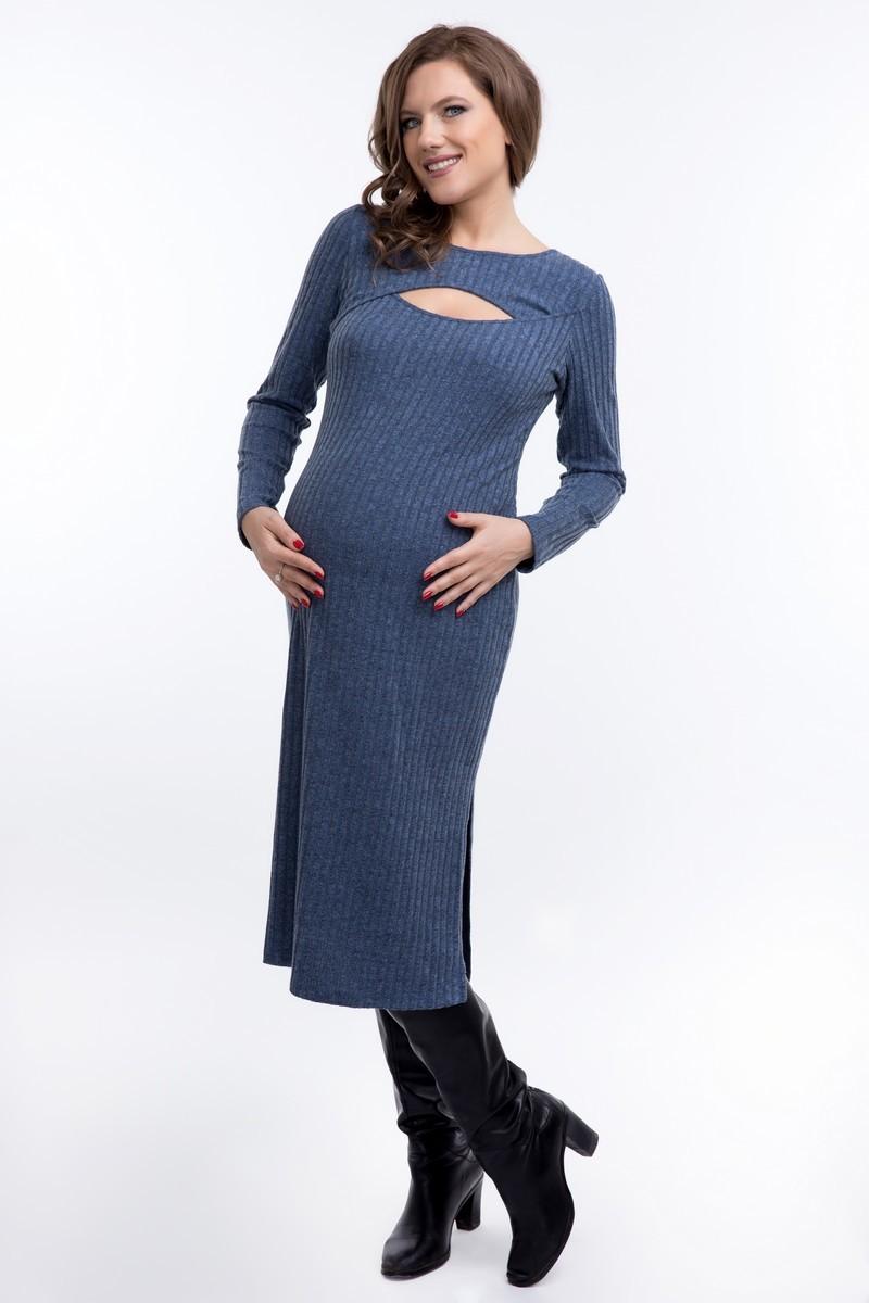 Фото платье для беременных GEMKO, трикотажное от магазина СкороМама, синий, размеры.