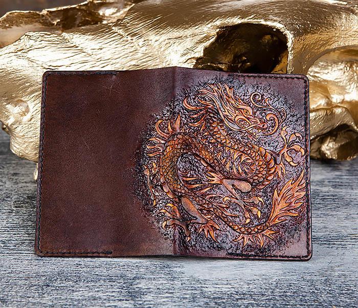 BC178 Необычная обложка для паспорта с китайским драконом фото 04
