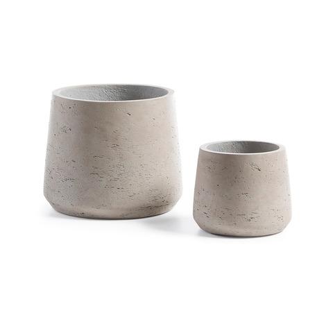 Набор кашпо из 2-х шт Lux серого цвета