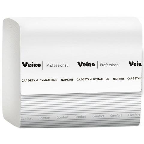 Салфетки бумажные Veiro Professional 2-слойные белые 220 листов 15 пачек в упаковке NV211