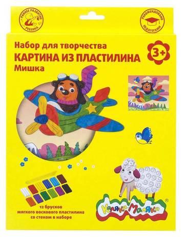 Набор д/тв. картина из пластилина МИШКА воск. пластилин 12 цветов
