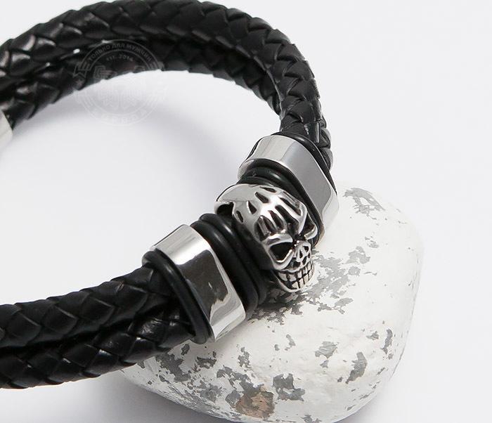 BM478 Мужской браслет из шнуров со стальным черепом (20 см) фото 05