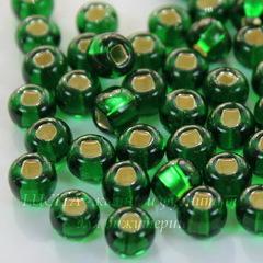 57060 Бисер 1/0 Preciosa прозрачный темно-зеленый с серебрянымм квадратным центром