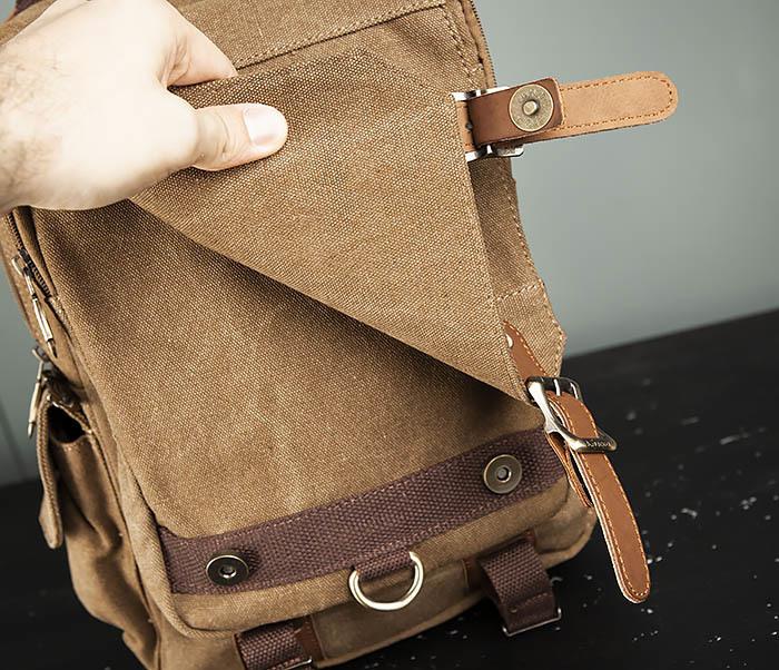 BAG394-2 Коричневый городской рюкзак с одной лямкой через плечо фото 10