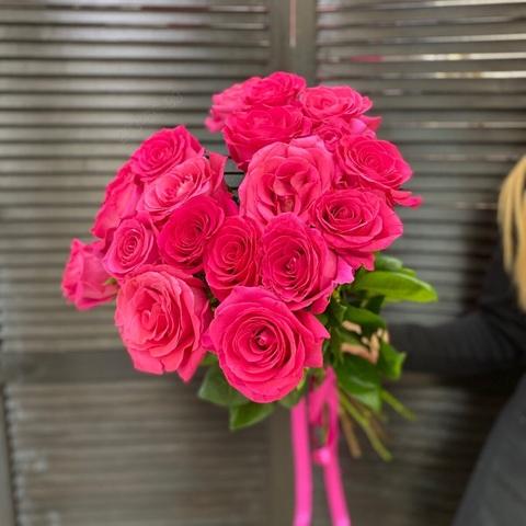 19 розовых роз 70 см #1825