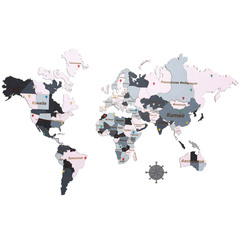 Карта Мира из дерева pink фото 1
