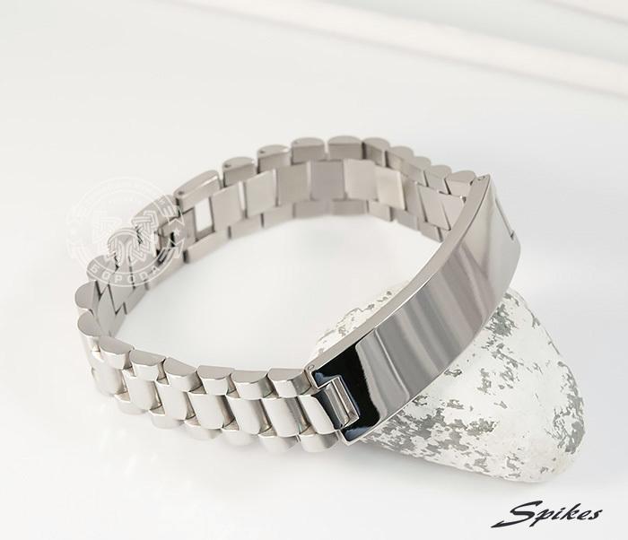 SSBQ-0009-1 Мужcкой браслет из ювелирной стали с пластиной, «Spikes» (21 см)