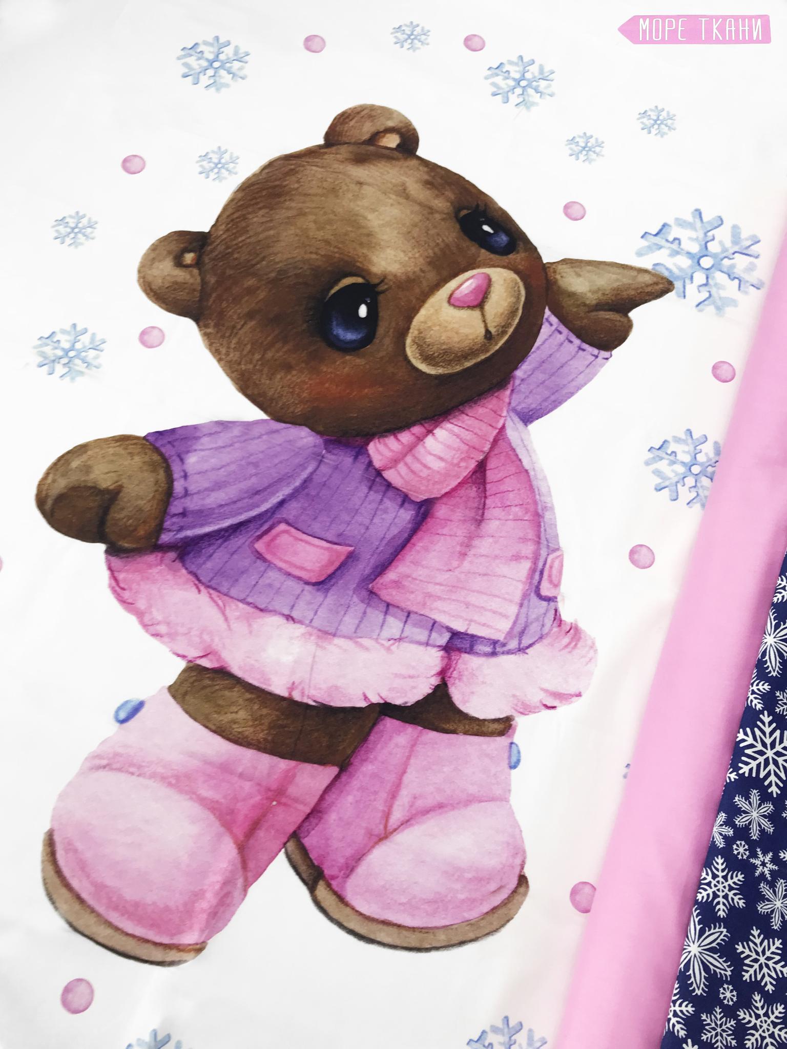 Панель(купон)  мишка в розовом пальто и сапожках -75*100 см