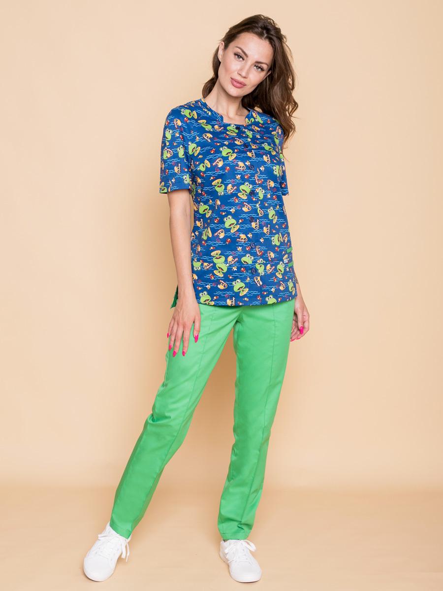 Блуза медицинская Бл-356/1 синего цвета