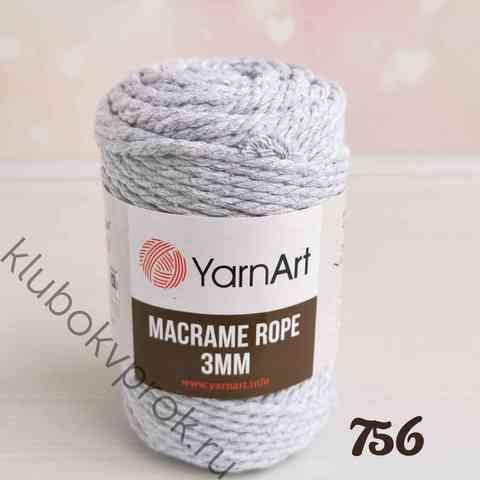 YARNART MACRAME ROPE 3mm 756, Светлый серый