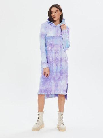 Платье с капюшоном с горизонтальным секретом Тай-дай