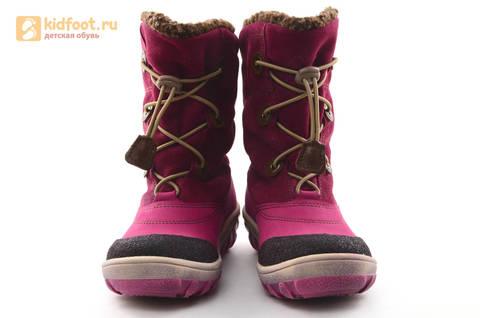 Зимние сапоги для девочек из натуральной кожи на меху Лель, цвет малиновый. Изображение 5 из 16.