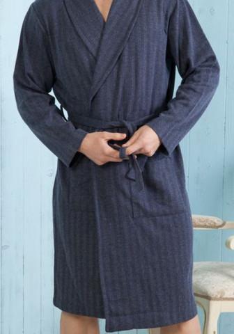 Трикотажный мужской халат в елочку утеплённый