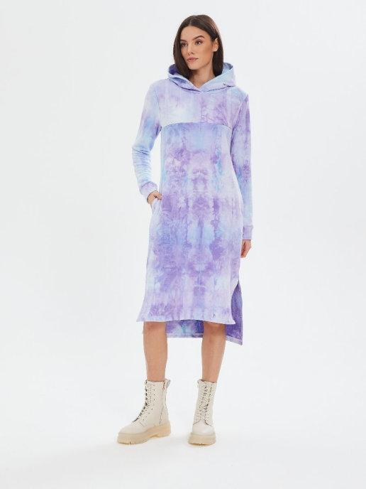 Платье Chic mama с капюшоном с горизонтальным секретом для кормления
