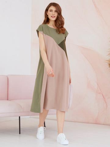 Платье для кормящих мам Геометрия Оливка