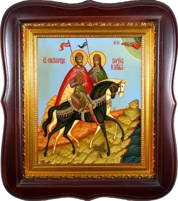 Борис и Глеб благоверные князья. Икона на холсте в киоте.