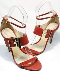 Удобные босоножки женские натуральная кожа Via Uno1103-6605 Red.
