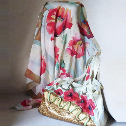 Шелковый платок батик к сумке