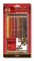 Набор художественных цветных карандашей POLYCOLOR BRAUN LINE 12 цветов в металлической коробке, защищенной блистером