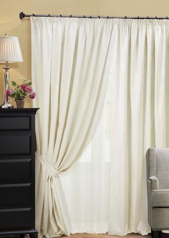 Комплект штор из двухстороннего жаккарда с тюлем Домино светло-бежевый