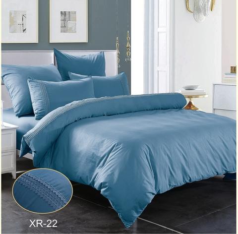 1.5-Спальное однотонное постельное темно-голубое