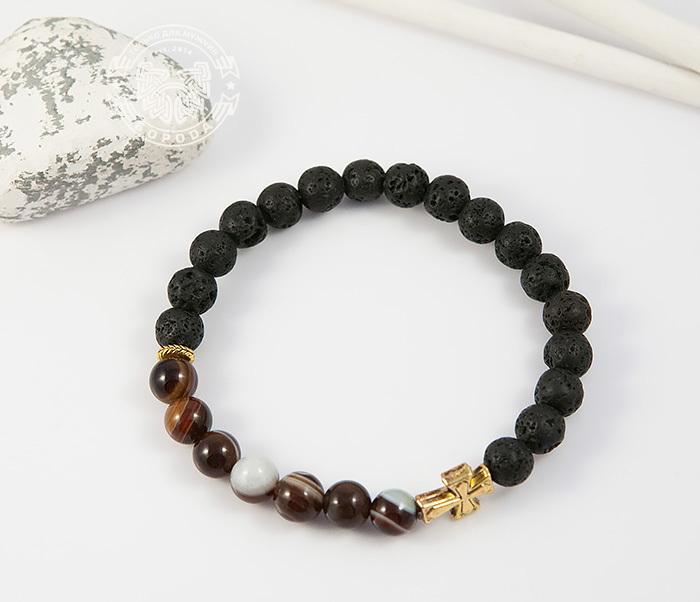 BS682-1 Мужской браслет из камней, лава и полосатый агат, ручная работа, «Boroda Design»