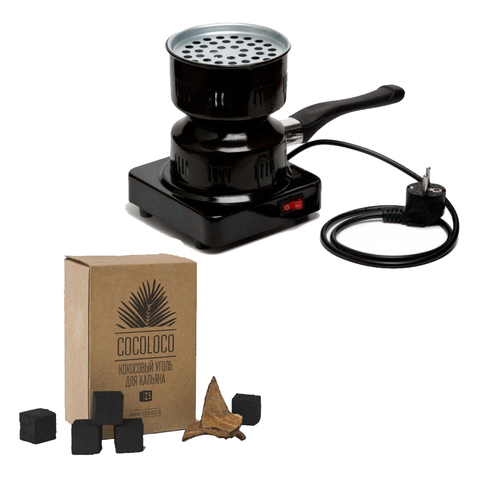 Плитка Hotplate для розжига углей и уголь Cocoloco 1 кг кокосовый