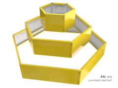 Клумба многоугольная оцинкованная Альпийская горка 3 яруса RAL 1018 Цинково-жёлтый