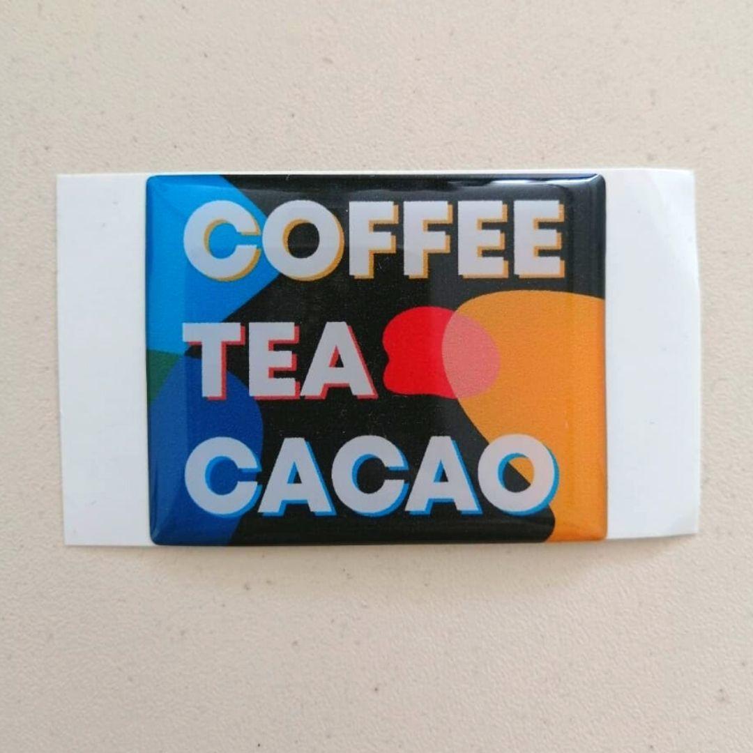 Наклейка Coffee Tea Cacao цветная (со смолой)
