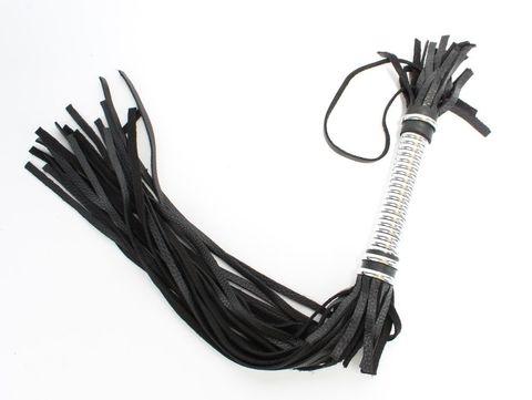 Черная длинная плеть с серебристой ручкой - 56 см.