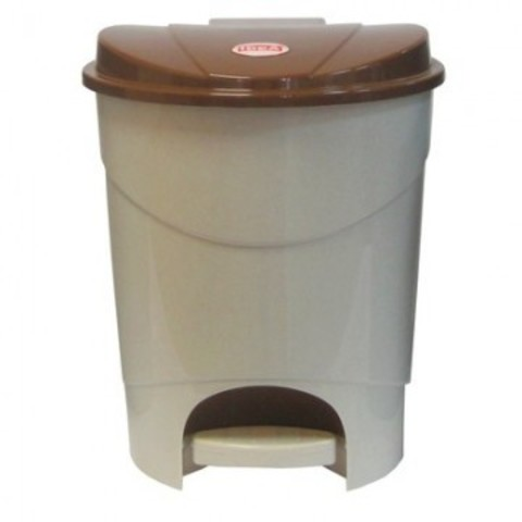 Ведро для мусора с педалью М-пластика 19 л пластик бежевое (30.5х30.5х39 см)