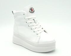 Белые кожаные зимние ботинки на высокой платформе
