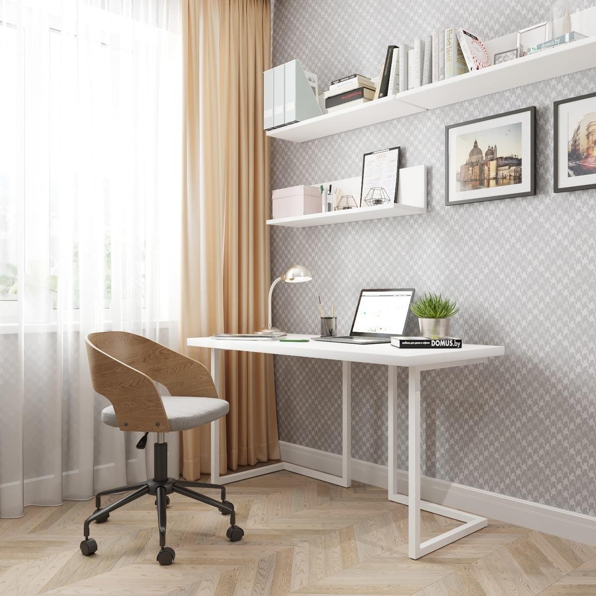 Письменный стол ДОМУС Урбан-1 белый/металл белый