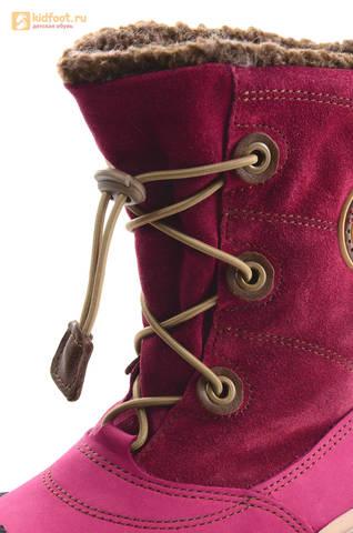 Зимние сапоги для девочек из натуральной кожи на меху Лель, цвет малиновый. Изображение 12 из 16.