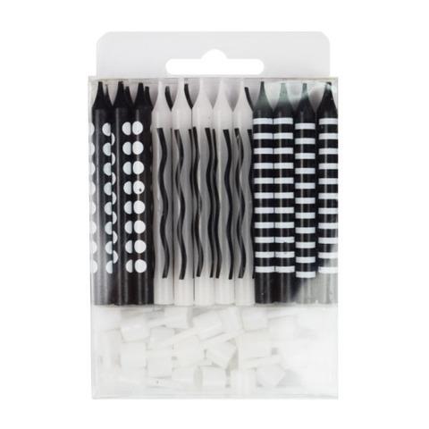 Свечи для торта Черные ассорти 6см с держателями 24шт