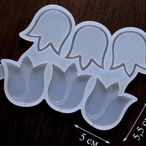 Силиконовая форма для леденцов ПОГРЕМУШКА ТЮЛЬПАНЫ прозрачный силикон (размер 50х55мм)