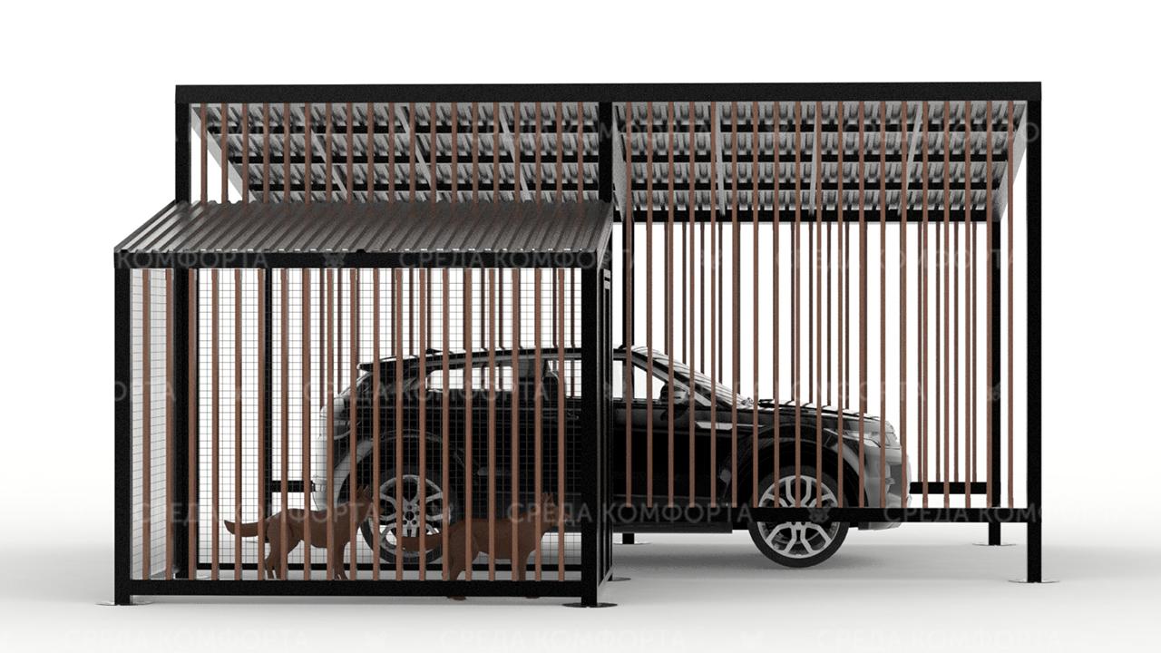 Навес для автомобиля с будкой для собаки AVNVS0002