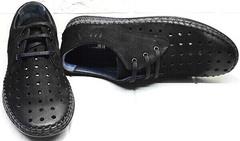 Удобные красивые туфли мокасины черные мужские смарт кэжуал мужской летние Luciano Bellini 91754-S-315 All Black.