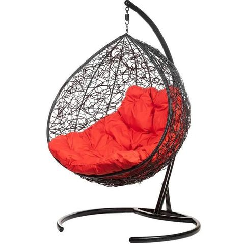 Двойное подвесное кресло Liverpool Twin Black красная подушка