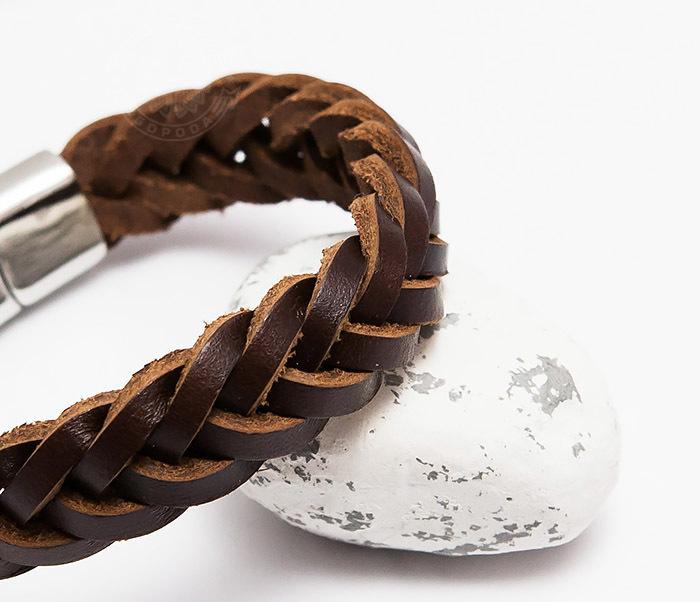 BM451-2 Мужской браслет из натуральной кожи коричневого цвета (19 см) фото 04