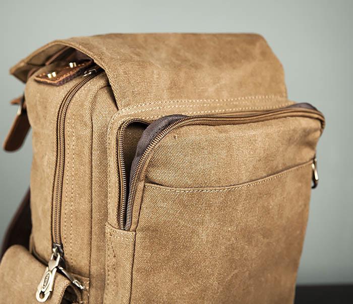 BAG394-2 Коричневый городской рюкзак с одной лямкой через плечо фото 11