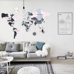 Карта Мира из дерева pink фото в интерьере