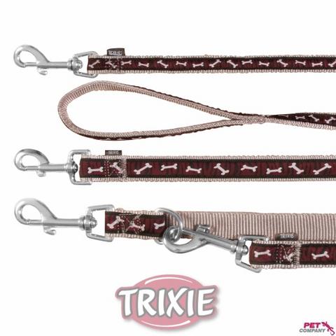 "Trixiе 17013 Поводок д/собак ""косточки"" коричневый, нейлон 1м*20мм"