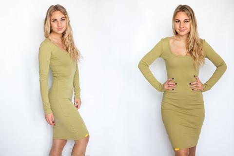 Платье с округлым вырезом оливковое