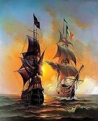 Картина раскраска по номерам 30x40 Два корабля в пути